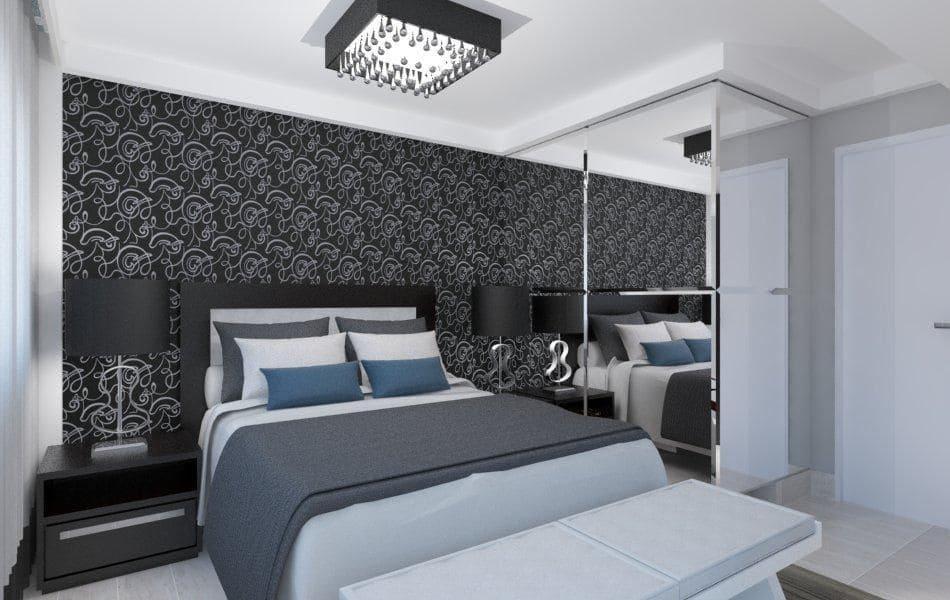 papel de parede quarto preto e branco